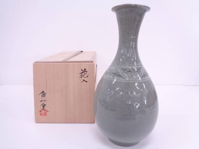 【IDN】 廣州窯造 高麗青磁花入【中古】【道】