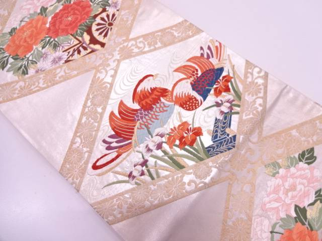 【IDN】 襷に鴛鴦・草花模様織出し袋帯【リサイクル】【中古】【着】
