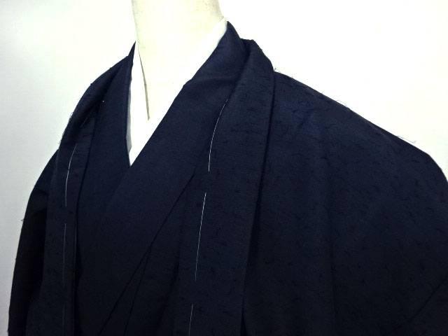 【IDN】 男物紬アンサンブル 髭紬 無地 着物【リサイクル】【中古】【着】