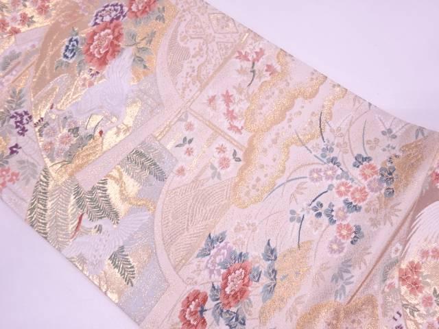 【IDN】 未使用品 地紙に鶴・草花模様織出し袋帯【リサイクル】【着】