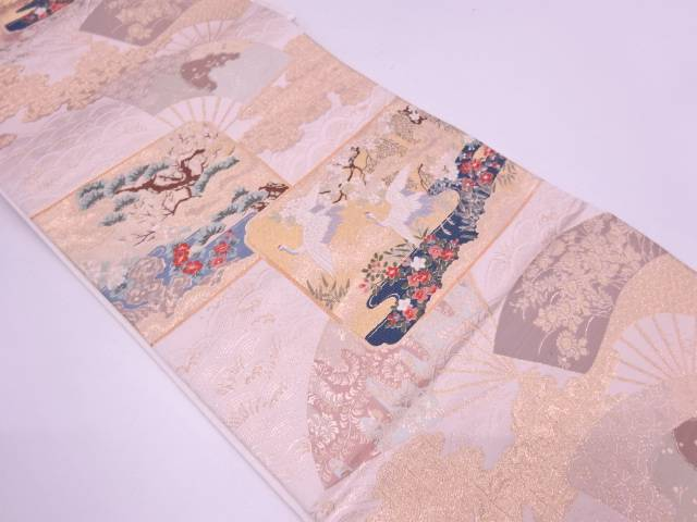 【IDN】 扇に松鶴・花模様織出し袋帯【リサイクル】【中古】【着】