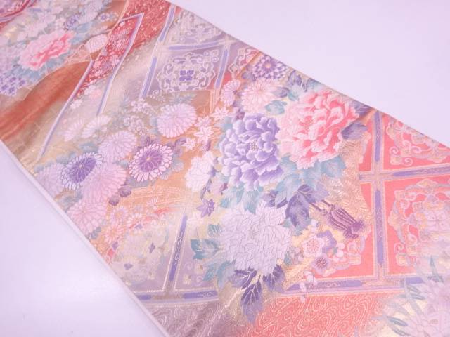 【IDN】 未使用品 地紙に草花模様織出し袋帯【リサイクル】【着】