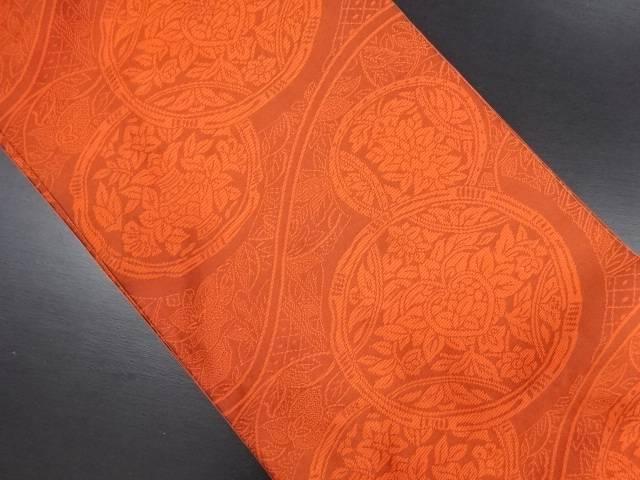 【IDN】 丸紋に草花模様織り出しリバーシブル全通袋帯【リサイクル】【中古】【着】