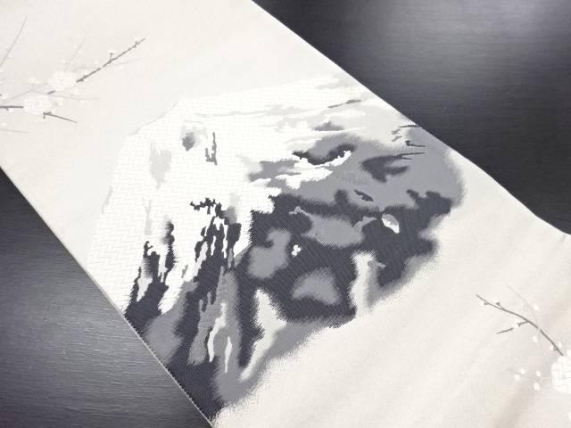 【IDN】 銀糸 富士に枝梅模様織り出し袋帯【リサイクル】【中古】【着】