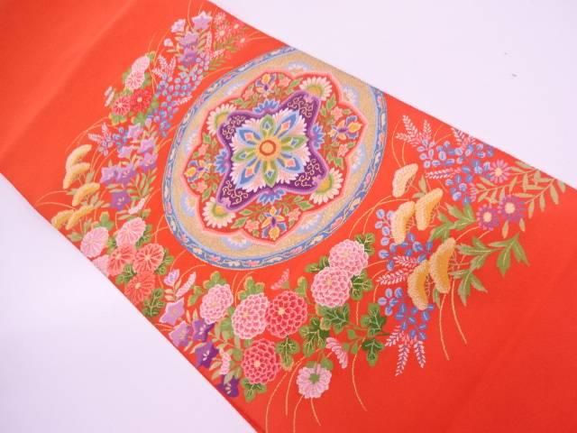【IDN】 綴れ絵皿に草花模様織出し袋帯【リサイクル】【中古】【着】