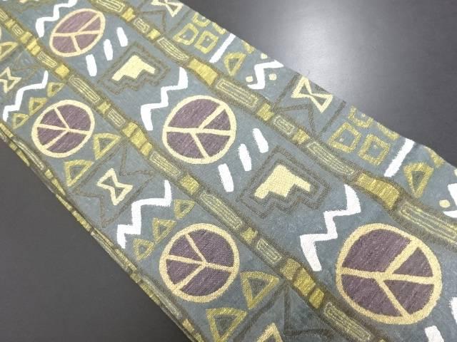【IDN】 金糸 抽象模様織り出し袋帯【リサイクル】【中古】【着】