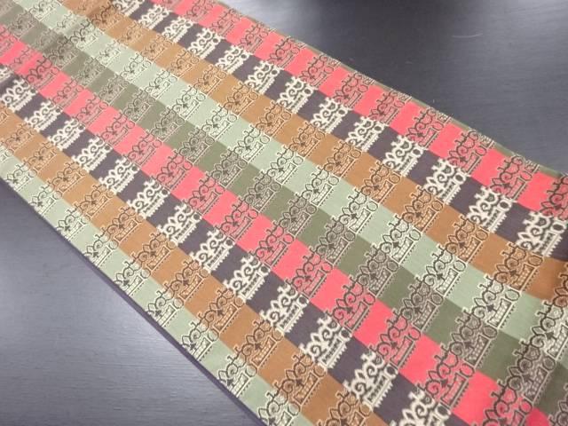 【IDN】 抽象模様織り出し全通袋帯【リサイクル】【中古】【着】