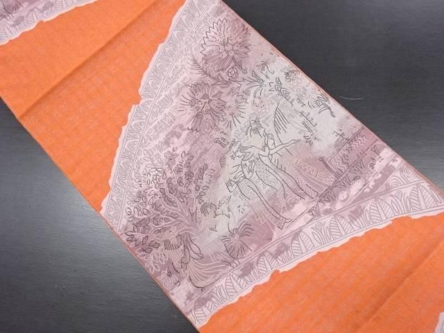 【IDN】 本場筑前博多 エジプト更紗模様織り出し名古屋帯【リサイクル】【中古】【着】