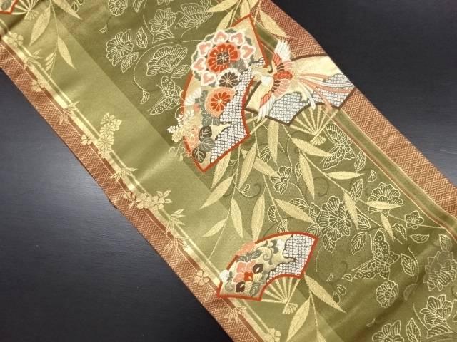 【IDN】 扇面に華紋・鳳凰・枝垂れ柳模様織り出し袋帯【リサイクル】【中古】【着】
