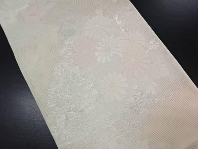 【IDN】 未使用品 西陣まいづる製 絽菊桔梗模様織り出し暈し袋帯(未仕立て)【リサイクル】【着】
