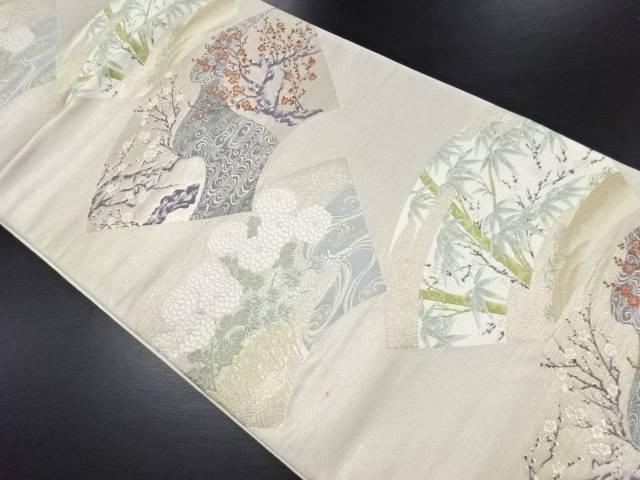 【IDN】 地紙に枝梅・菊・竹笹模様織り出し袋帯【リサイクル】【中古】【着】