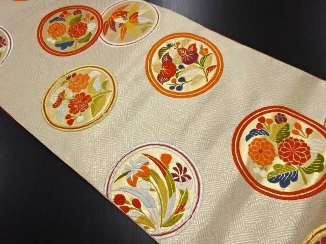 【IDN】 金糸丸に菊・桜・橘模様織り出し袋帯【リサイクル】【中古】【着】
