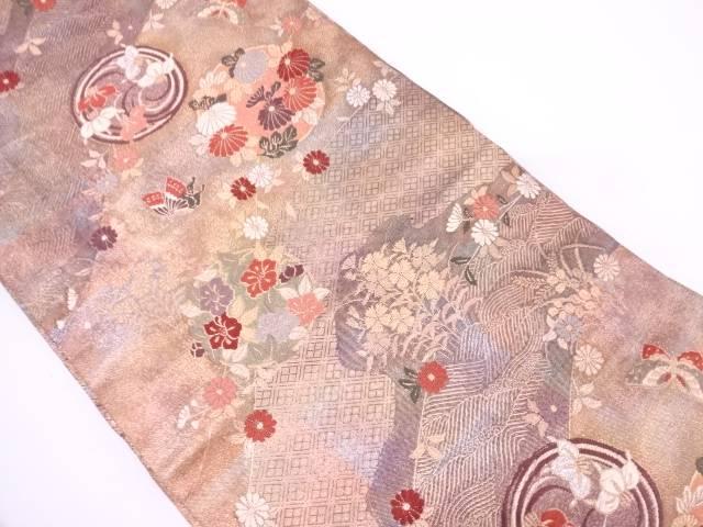 【IDN】 花丸文に蝶・草花模様織出し袋帯【リサイクル】【中古】【着】