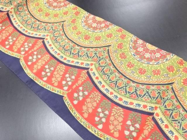 【IDN】 華紋に花更紗模様織り出し全通洒落袋帯【リサイクル】【中古】【着】