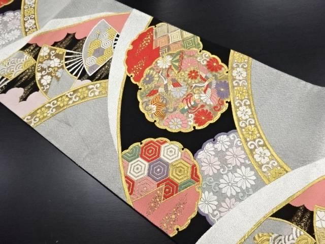 【IDN】 金銀糸 雪輪に鶴・宝尽くし模様刺繍袋帯【リサイクル】【中古】【着】
