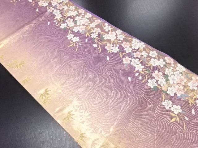 【IDN】 引箔波に笹・枝垂れ桜模様織り出し袋帯【リサイクル】【中古】【着】
