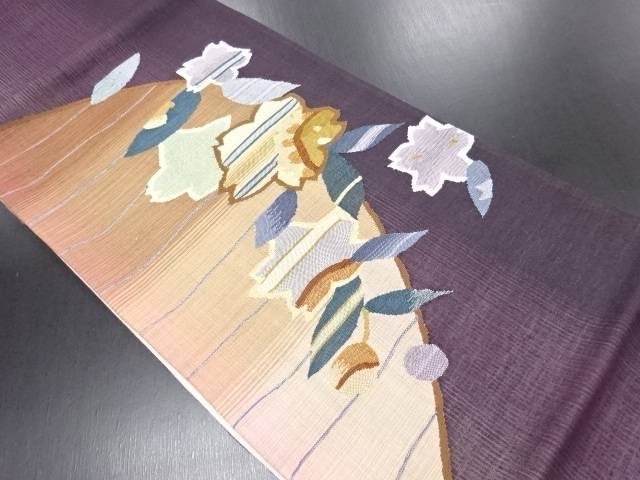 【IDN】 桜模様織り出しリバーシブル洒落袋帯【リサイクル】【中古】【着】