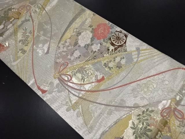 【IDN】 本金箔 扇面に花車模様織り出し袋帯【リサイクル】【中古】【着】