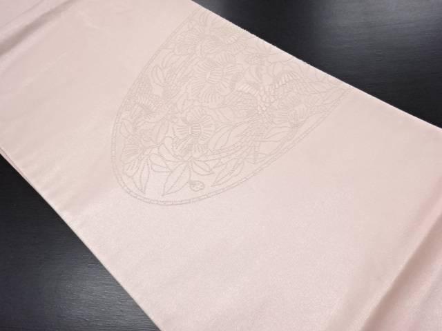 【IDN】 相良刺繍尾長鳥に椿模様袋帯【リサイクル】【中古】【着】