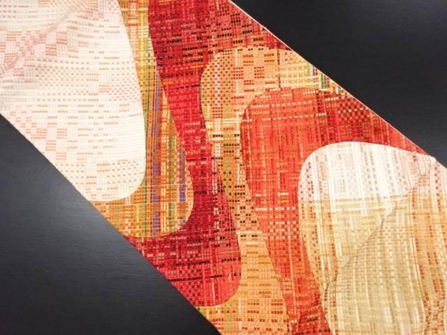 【IDN】 未使用品 切りばめリボン織抽象模様洒落袋帯【リサイクル】【着】