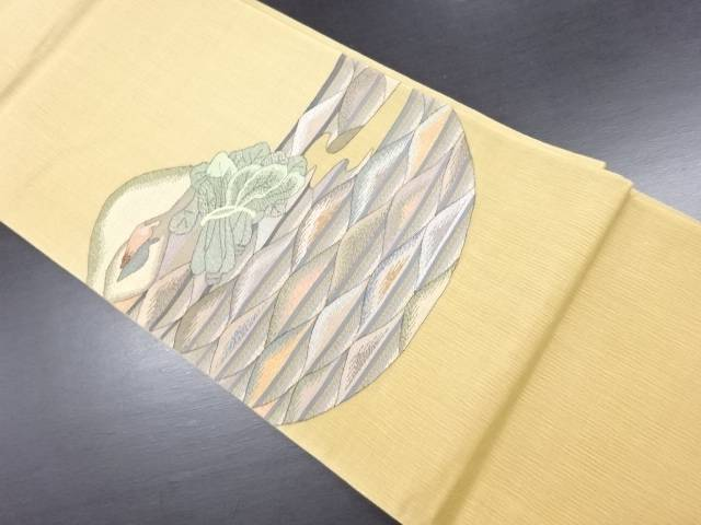 【IDN】 明綴れほうれん草模様織り出し袋帯【リサイクル】【中古】【着】
