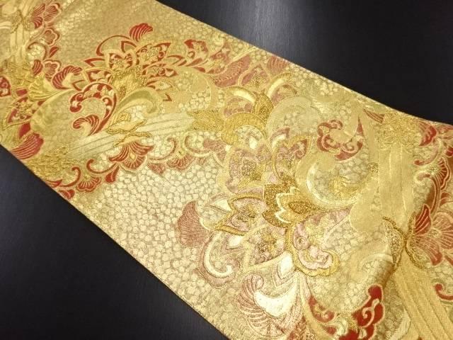 【IDN】 金糸唐花模様織り出し袋帯【リサイクル】【中古】【着】