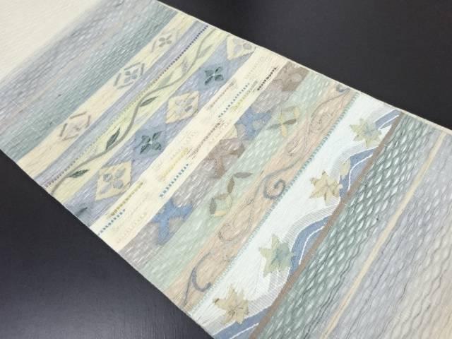 【IDN】 すくい織 横段に唐草七宝模様織り出し袋帯【リサイクル】【中古】【着】