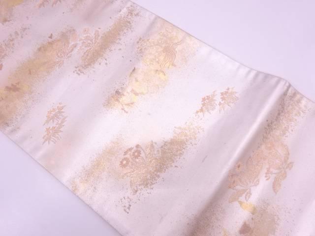 【IDN】 引箔たんぽぽ模様織出し袋帯【リサイクル】【中古】【着】