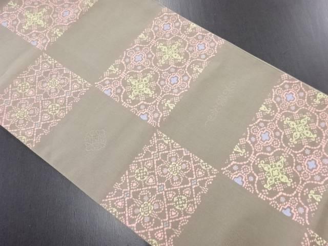 【IDN】 市松に華紋織り出し袋帯【リサイクル】【中古】【着】