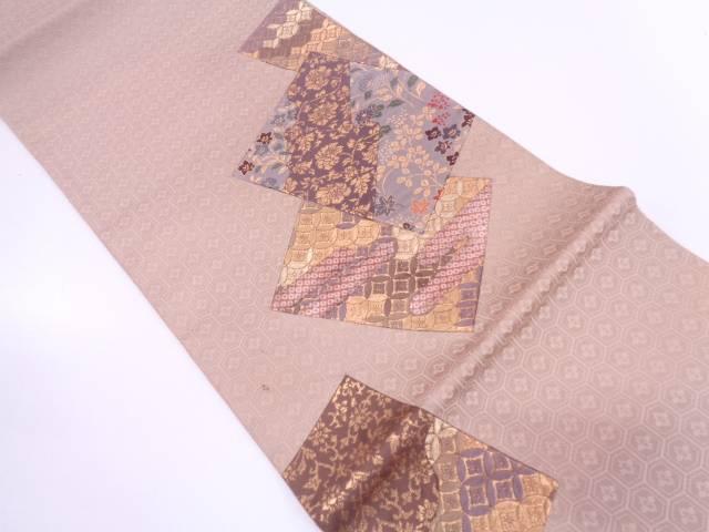 【IDN】 切嵌草花に古典柄模様織出し袋帯【リサイクル】【中古】【着】