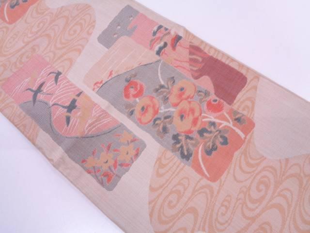 【IDN】 おぐら製 短冊に草花・群鶴模様織出し袋帯【リサイクル】【中古】【着】