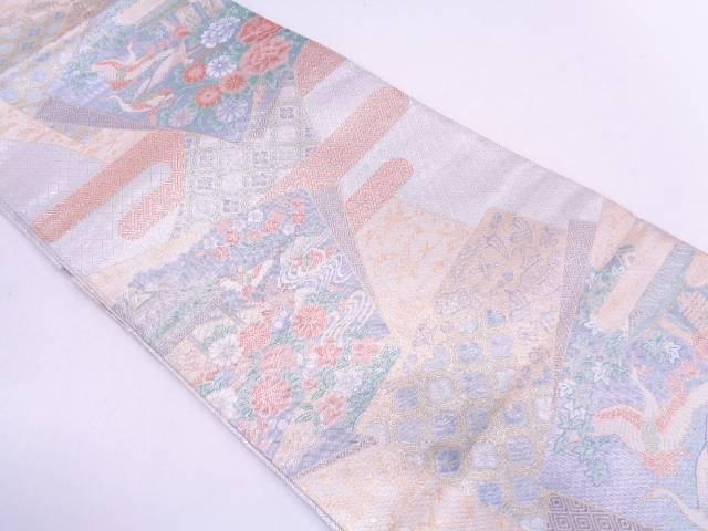 【IDN】 宝珠本佐賀錦重ね色紙に鶴風景模様織出し袋帯【リサイクル】【中古】【着】