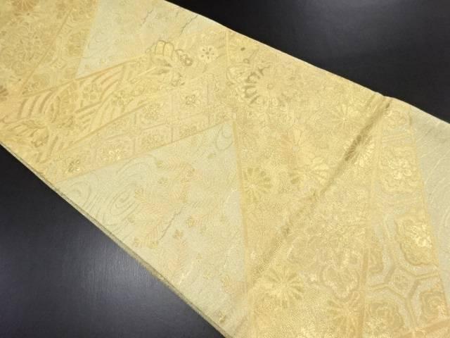 【IDN】 本金切りばめ風蝶に華紋・若松模様織り出し袋帯【リサイクル】【中古】【着】