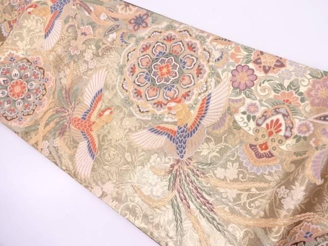 【IDN】 未使用品 極楽鳥に華紋模様織出し袋帯【リサイクル】【着】