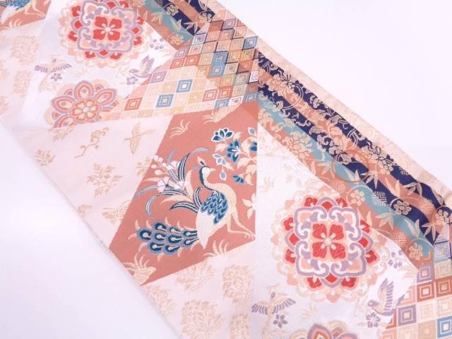【IDN】 未使用品 縞に花鳥模様織出し袋帯【リサイクル】【着】