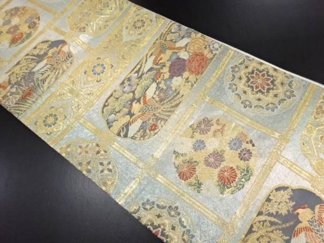 【IDN】 金糸天井柄に花鳥模様織り出し袋帯【リサイクル】【中古】【着】