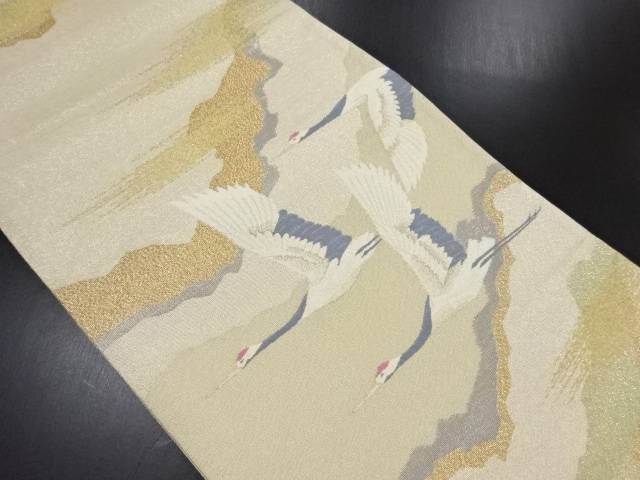 【IDN】 明綴れプラチナ箔群鶴に霞模様織り出し袋帯【リサイクル】【中古】【着】