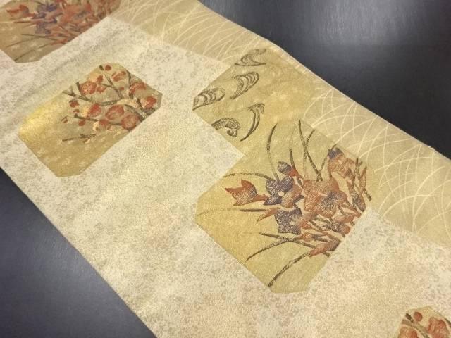 【IDN】 本金変わり色紙に枝梅桔梗模様織り出し袋帯【リサイクル】【中古】【着】