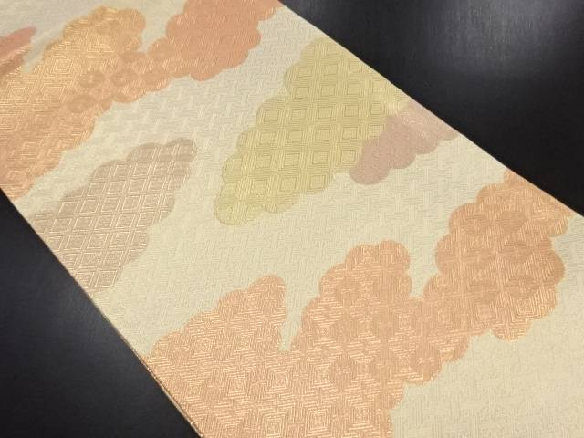 【IDN】 佐賀錦雲に古典柄織り出し全通袋帯【リサイクル】【中古】【着】