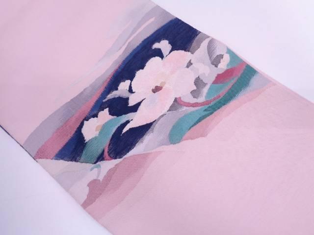 【IDN】 未使用品 渡文製 すくい織波に草花模様織出し袋帯【リサイクル】【着】