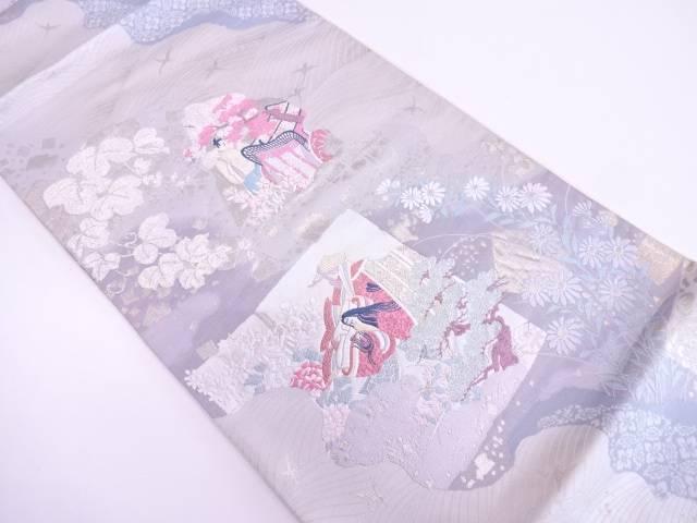 【IDN】 源氏物語模様織出し袋帯(着用可)【アンティーク】【中古】【着】
