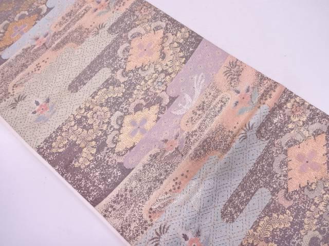 【IDN】 綴れヱ霞に花鳥模様織出し袋帯【リサイクル】【中古】【着】