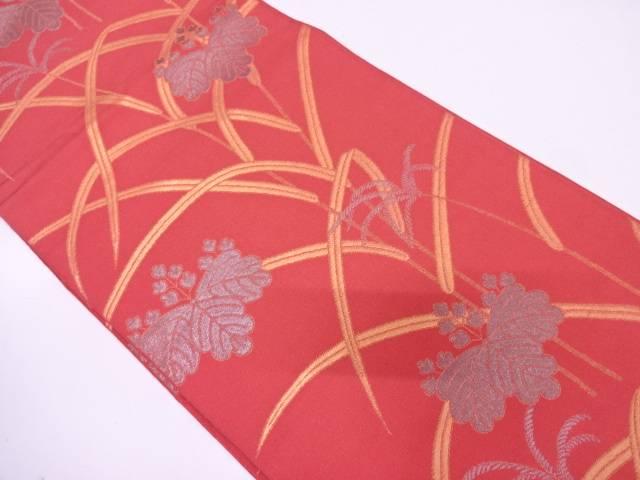 【IDN】 織悦製 草葉に桐模様織出し全通袋帯【リサイクル】【中古】【着】
