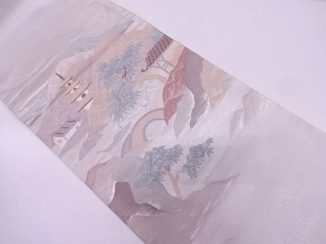 【IDN】 家屋風景模様織出し袋帯【リサイクル】【中古】【着】
