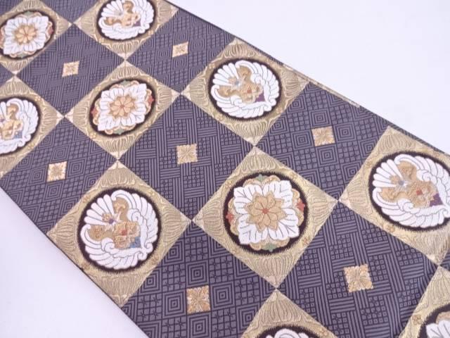 【IDN】 未使用品 唐織市松に華紋模様織出し袋帯【リサイクル】【着】
