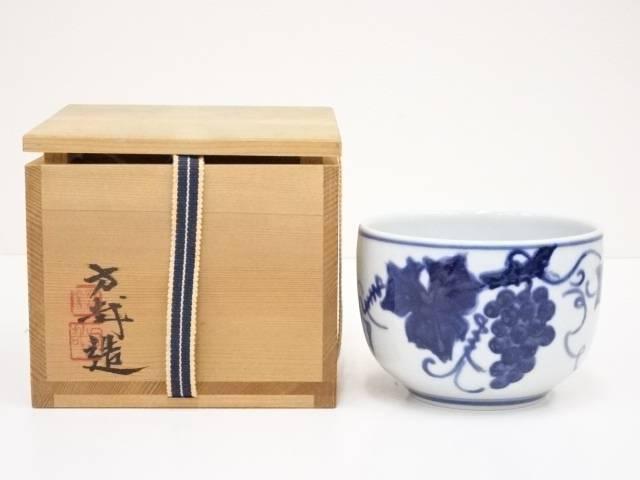 【IDN】 京焼 今西方哉造 染付葡萄茶碗【中古】【道】