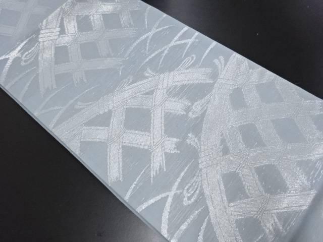 【IDN】 紗 銀糸 蛇籠模様織り出し袋帯【リサイクル】【中古】【着】