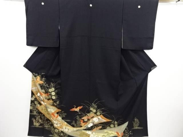 【IDN】 金彩 鶴に秋草・屋敷模様刺繍留袖(比翼付き)【リサイクル】【中古】【着】
