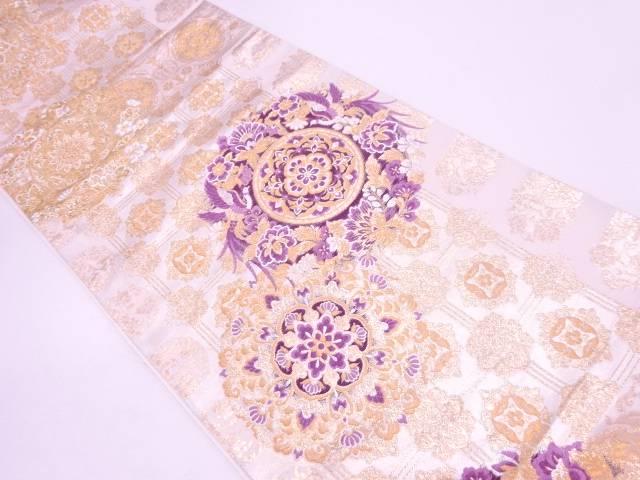 【IDN】 帝王紫異国華飾花鳥文織出し袋帯【リサイクル】【中古】【着】