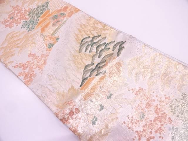 【IDN】 浩彩二重縦時代人物風景模様織出し袋帯【リサイクル】【中古】【着】